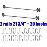 Ikea Steel Kitchen Organizer Set, 2 Rails and 20 Hooks, Silver