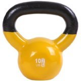 GoFit 10-Pound Yellow Kettlebell with Vinyl Coating, Training DVD and Exercise Booklet