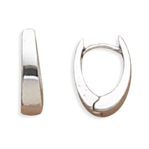 Polished Oval Square Tube Hinged Huggies Hoop Earrings Sterling Silver
