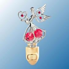Angel with Heart Night Light..... With Red Swarovski Austrian Crystals