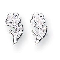 Sterling Silver Polished Flower Post Mini Earrings