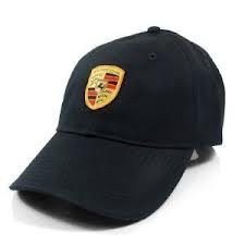 Porsche Black Crest Logo Cap, Official Licensed
