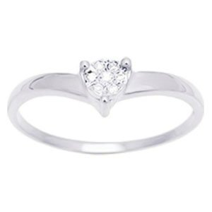 So Chic Jewels - Ladies 9k White Gold 0.04 ct Diamond 7 Stones Solitaire Style Engagement Ring