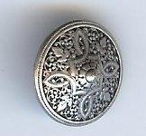 """Persian Shield Button, Antique Silver Finish. Size 5/8"""""""