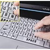 Black Letters on White Off White Ivory Background Large Print Opaque Keyboard Stickers Labels Stick-On - Durable Lexan® Polycarbonate, 3M® Adhesive Printed Sub-Surface. Lexan® will NOT Curl, Slip, or Ooze