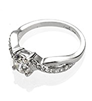 M&S Collection Platinum Plated Twisted Crystal Stone Ring