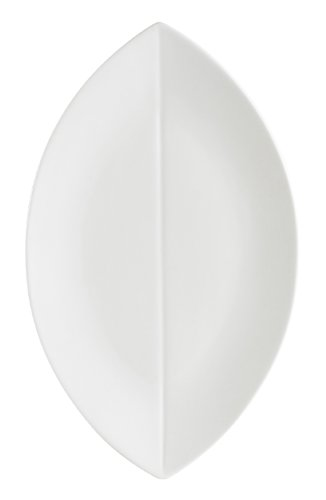Cac China Col-V41 Flat Leaf 14-Inch By 8-1/4-Inch Super White Porcelain Platter, Box Of 12