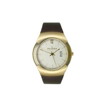 Skagen Gold Tone & Brown Leather Men's watch #981XLGLD