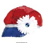Patriotic Sequined Hat with Flower 1 Count - 1