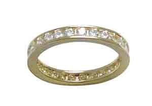 Size 6 Eternity Channel Set Cubic Zirconia Band 14k Yellow Gold Ring