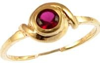 14k Yellow Gold, Abstract Design Dainty Ring with Lab Created Round Brilliant Red Colored Stone