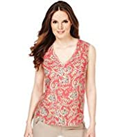Quick Iron Linen Blend Paisley Print Top