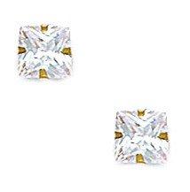 14k Yellow Gold 5x5mm Square CZ Light Prong Set Earrings - JewelryWeb