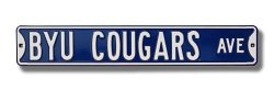 "BRIGHAM YOUNG COUGARS ""BYU COUGARS AVE"" AUTHENTIC METAL STREET SIGN (6"" X 36"")"