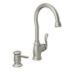 Compare Prices Moen 87682 High Arc Kitchen Faucet With Soap Dispenser From The Anabelle Collect Spot Resist Stainless Louieburkeszob