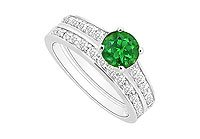 Emerald and Diamond Engagement Ring with Wedding Band Set 14K White Gold - 1.00 CT TGW MADE IN USA