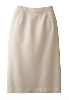 Plus Size Wool Pencil Skirt (Ivory,30) Image