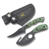 Elk Ridge ER-300CA Hunting Knife Two-Piece Set, Straight Edge and Gut Hook Blades, Camo ABS Handles, 7-Inch and 6-1/2-Inch Overall
