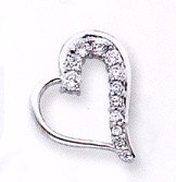 Sterling Silver Heart Cubic Zirconia Pendant