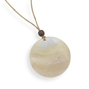 Jewelry Locker Cord Fashion Necklace with Wood and Shell Pendant