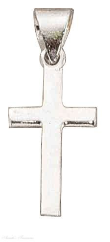 Sterling Silver Flat Simple Christian Religious Cross Pendant