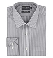 2in Shorter Cotton Rich Non-Iron Dotted Striped Shirt