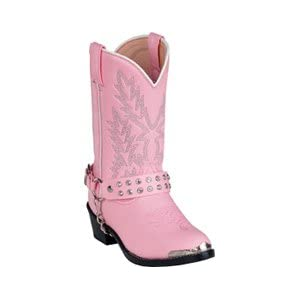 Girls Pink Cowboy Boot with Rhinestone Boot Chain