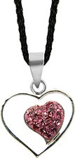 Silver crystal Heart Pendant by GlitZ JewelZ © - lovely double heart design - Pink Sapphire - bling bling!! - Choose a color from the drop down menu - Comes with a black silk cord necklace - packed inside a lovely velvet pouch