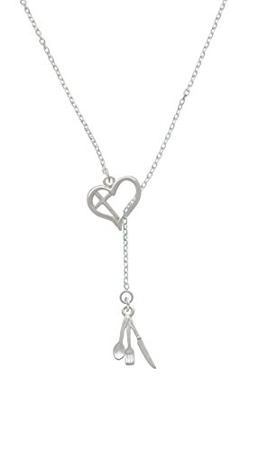 Fork Knife And Spoon Cross In Heart Lariat Necklace