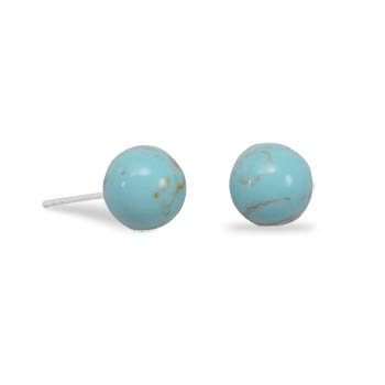 Jewelry Locker Rhodium Plated Reconstituted Turquoise Stud Earrings