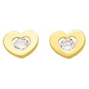 So Chic Jewels - Ladies Girls 18k Yellow Gold White Cubic Zirconia Heart Stud Earrings