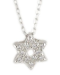 Small Sterling Silver & CZ Star of David Necklace