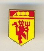 OFFICIAL MANCHESTER UNITED F.C. MINATURE CREST DEVIL & SHIP PIN BADGE
