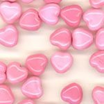 Czech Glass Hearts 6mm OP Pink White Swirl, 50pcs
