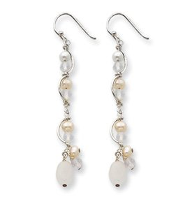 Genuine IceCarats Designer Jewelry Gift Sterling Silver Fw Cultured Pearl/Opalite Crystal/Moonstone Earrings
