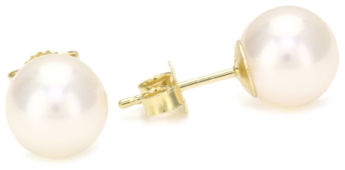 TARA Pearls 8mm Cultured Pearl Yellow Gold Stud Earrings
