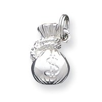 Sterling Silver Money bag Charm - JewelryWeb