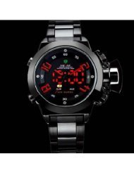 Weide Black Steel Japan Movt Digital Analog Led Men Diver Watch - Red Needle - By Champper