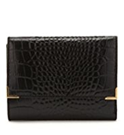 M&S Collection Leather Mock Crocodile Skin Tri-Fold Purse