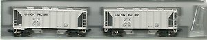 KATO N 186-0112: Union Pacific ACF 70 Ton Covered Hoppers 2 Car Set UP#3 Rd#267 &#387 (N Scale)