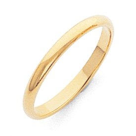 Genuine IceCarats Designer Jewelry Gift 10K 2Mm Half-Round Band Size 8.00