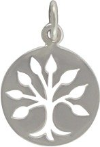 Round Open Design Family Tree of Life Pendant in Sterling Silver, #7631