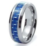 buy Blue Carbon Fiber Inlay Men'S & Women'S Tungsten Carbide Wedding Band Ring - 8Mm (7.5)