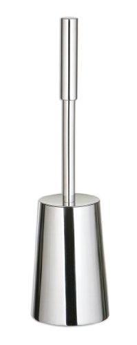 Premier Housewares Stainless Steel Toilet Brush Holder, Modern Round Tapered Shape