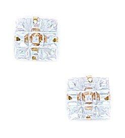 14k Yellow Gold 7x7mm 9 Segment Square CZ Light Prong Set Earrings - JewelryWeb