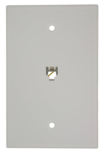 Leviton 40549-W Type 625B4 Telephone Midway Wall Plate Flush Mount Jack, 1 Modular 6P4C Jack, Screw Terminals, White