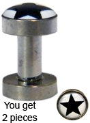 size 9g /3.0mm Surgical steel 316L Flesh Tunnel - Star Design -by GlitZ JewelZ ©