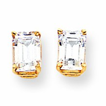 14ct Gold 7x5mm Emerald-Cut Cubic Zirconia Earrings