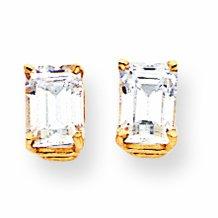 14ct Gold 7x5mm Emerald-Cut Cubic Zirconia Earrings