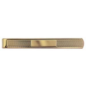 British Jewellery Workshops Hard Gold plated 6x55mm Centre space Engine turned Tie Slide